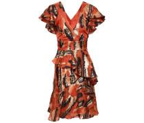 Ruffled Metallic Fil Coupé Silk-blend Mini Dress Orange