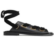 Velvet-trimmed Lace-up Leather Sandals Black