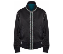Embroidered silk-satin jacket