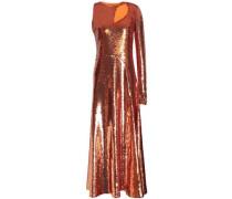 Cutout sequined silk-blend georgette midi dress