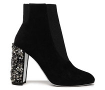 Woman Embellished Suede Ankle Boots Black