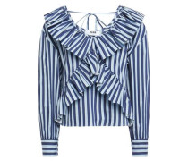 Woman Ruffle-trimmed Striped Cotton-blend Blouse Indigo