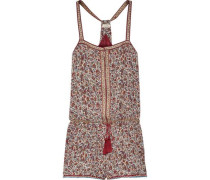 Printed Silk-georgette Playsuit Burgundy