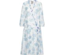 Aden Metallic Fil Coupé Organza Wrap Dress Light Blue