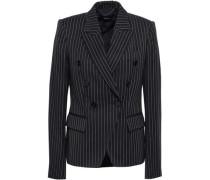 Double-breasted Pinstripe Stretch-wool Blazer Midnight Blue
