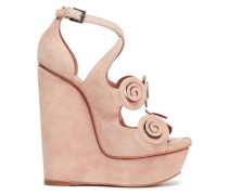 Cutout Pvc-trimmed Suede Wedge Sandals Blush