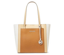 Woman Color-block Pebbled-leather Tote Light Brown