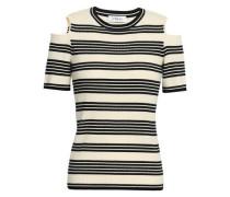 Cold-shoulder Striped Ribbed-knit Top Ivory