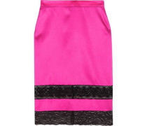 Skirt in black lace-trimmed bright-pink silk-satin