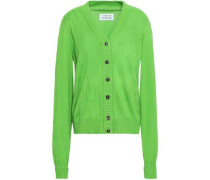 Pointelle-knit Cotton, Cashmere And Silk-blend Cardigan Bright Green