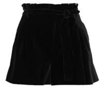 Woman Laurine Belted Velvet Shorts Black