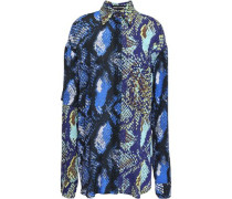 Paneled Snake-print Gauze Shirt Royal Blue