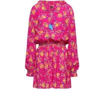 Ali Floral-print Silk Crepe De Chine Mini Dress Bright Pink Size 12