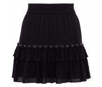 Sydney Eyelet-embellished Gauze Mini Skirt Black
