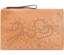 Studded Laser-cut Leather Pouch Neutral Size --
