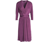 Tie-front Stretch-jersey Dress Purple