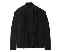 Woman Pleated Pintucked Silk Blouse Black