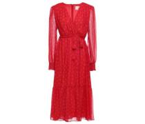 Wrap-effect Belted Printed Silk-chiffon Midi Dress Red Size 0