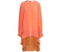 Layered two-tone crepe de chine mini dress