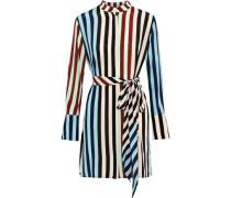Belted Printed Silk Mini Dress Multicolor