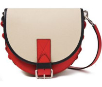 Lace-up Color-block Textured-leather Shoulder Bag Cream Size --