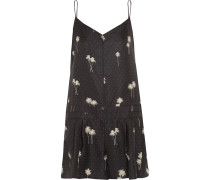 Dune Printed Silk-twill Playsuit Schiefer