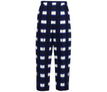 Checked Woven Tapered Trousers Navy