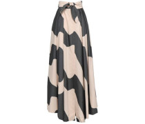 Jackie Tie-front Striped Cotton-blend Maxi Skirt Black