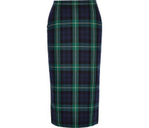 Checked Cotton-blend Twill And Crepe Pencil Skirt Emerald