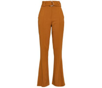 Foster Belted Stretch-crepe Bootcut Pants Camel