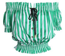 Peasant off-the-shoulder shirred striped cotton-poplin top