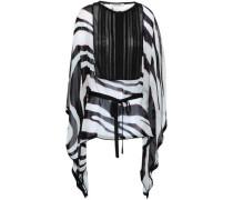 Crochet-paneled Printed Silk-georgette Tunic White