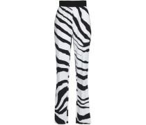 Zebra-print crepe straight-leg pants