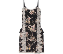 Lace-paneled printed silk crepe de chine mini dress