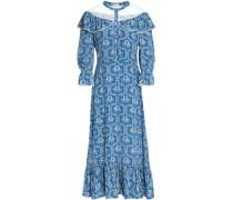Ruffle-trimmed floral-print silk midi dress