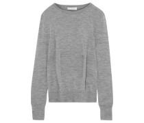 Pleated Mélange Merino Wool Sweater Stone