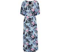 Gathered Floral-print Linen Midi Dress Light Blue Size 0
