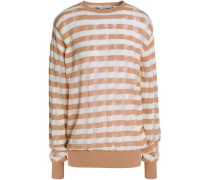 Striped Ribbed-knit Cotton-blend Sweater Beige
