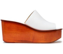 Leather Wedge Mules White
