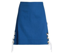 Lace-up Stretch-cotton Mini Skirt Royal Blue