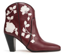 Dalton Embroidered Leather Ankle Boots Merlot