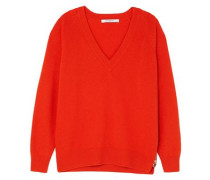 Zip-detailed Wool And Cashmere-blend Sweater Tomato Red