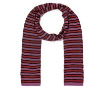 Woman Metallic Striped Crochet-knit Scarf Purple