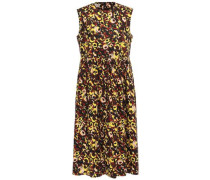 Woman Gathered Printed Cotton-poplin Midi Dress Marigold