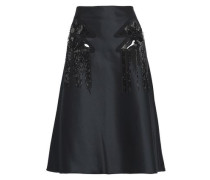 Fluted Embellished Duchesse Satin Skirt Black