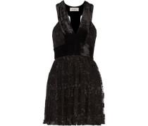 Wyatt velvet-paneled pleated embroidered tulle mini dress