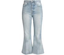 Woman Distressed Mid-rise Kick-flare Jeans Light Denim