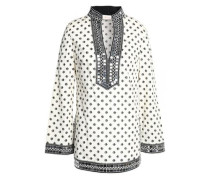 Embellished printed cotton-poplin tunic