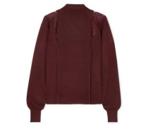 Woman Lace-paneled Wool And Silk-blend Turtleneck Sweater Burgundy