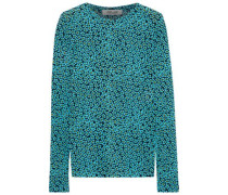 Floral-print Stretch-mesh Top Turquoise